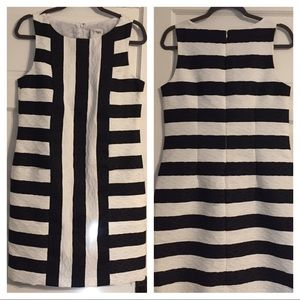 J. Taylor Black & White Stripe Sheath Dress - 10
